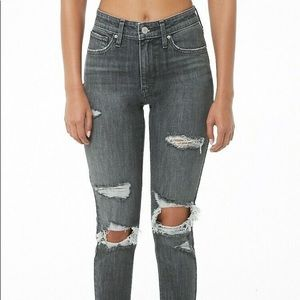 Levis 721 skinny high waist destroyed washed black